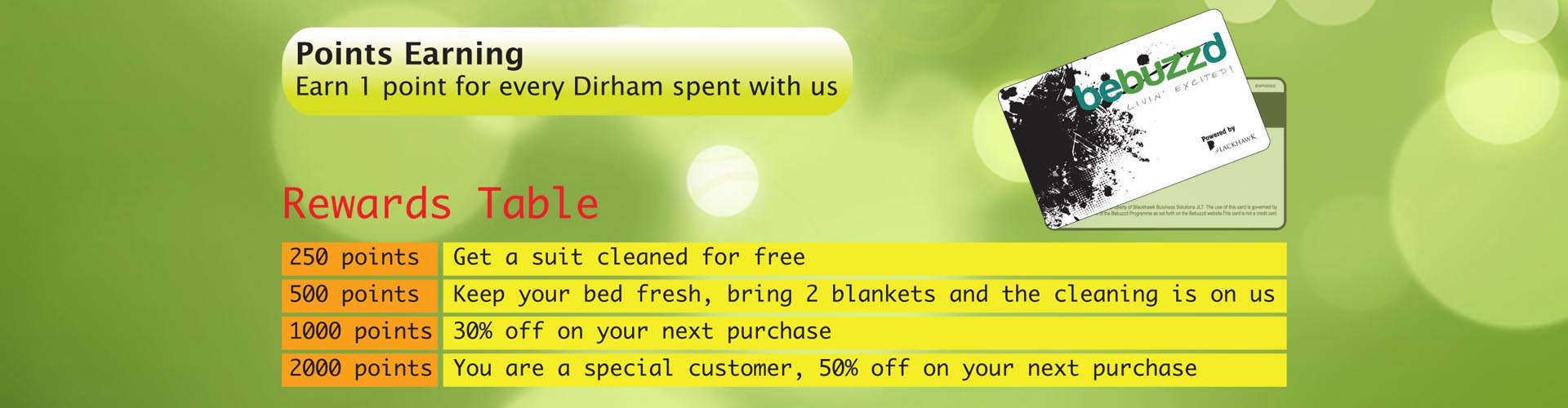 Blossom dry cleaning loyalty program